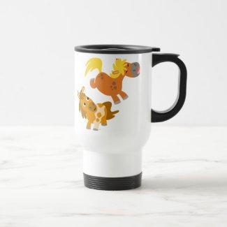 Playful Cartoon Ponies Travelling Mug mug