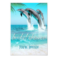 PLAYFUL DOLPHINS TROPICAL OCEAN Bridal Shower Card