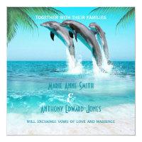 PLAYFUL DOLPHINS TROPICAL OCEAN Wedding Invitation