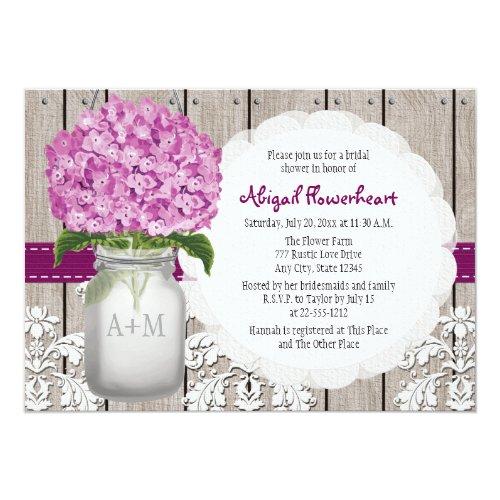 Plum Hydrangea Mason Jar Bridal Shower Invitation