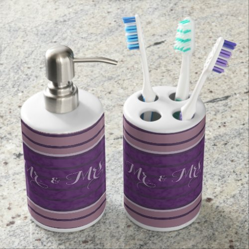 Plum Purple Lavender Mauve Striped Soap Dispenser & Toothbrush Holder