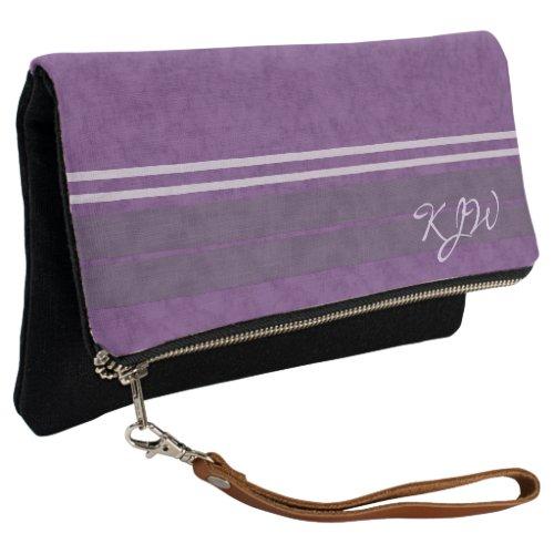 Plum Purple Lavender Monogram Clutch