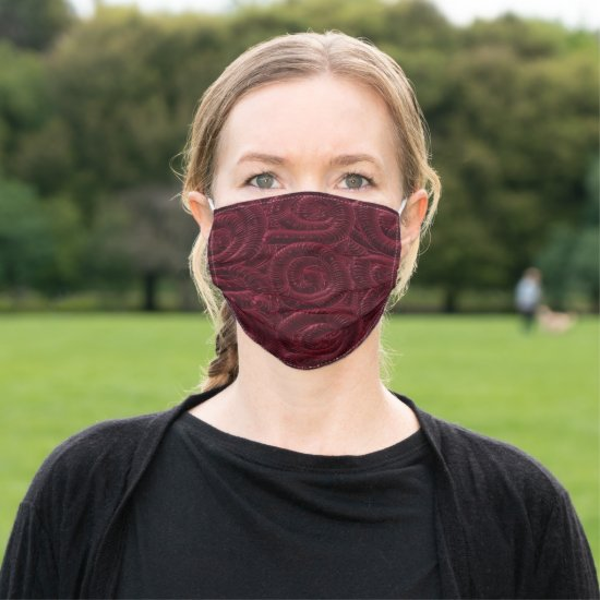 Plush Pattern Burgundy Cloth Face Mask