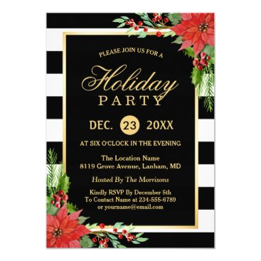 Poinsettia Floral Gold Frame Striped Holiday Party Invitation
