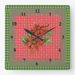Poinsettia Plaid Red Green Tartan Rustic Layers Square Wallclock