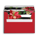 Poinsettias on Black, White Stripes Envelope