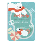 Polar Bear Winter Pool Party Birthday Invitation