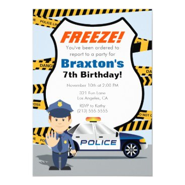 Police Birthday Party Invitation - FREEZE!