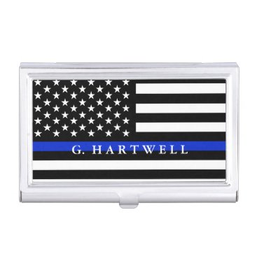Police Styled American Flag Custom Name Business Card Case
