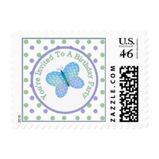 Polka Dot Butterfly : Birthday Party Postage zazzle_stamp