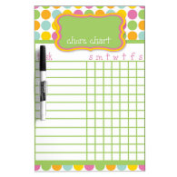 Polka Dot Chore Chart Dry-Erase Whiteboards