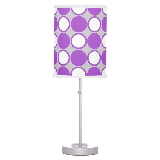 Polka dot purple gray white desk lamps  Zazzle