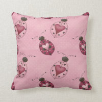 Polkadots and Ladybugs Throw Pillow