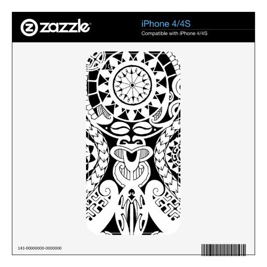 Polynesian mask tattoo with tribal sun iPhone 4S decal