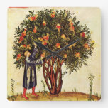 POMEGRANATE TREE ANTIQUE MEDIEVAL PARCHMENT,Rustic Square Wall Clocks