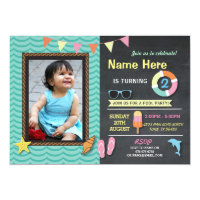 Pool Party Birthday Photo Summer Mint Invite