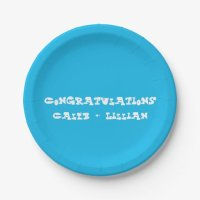 Pool Party Blue Engagement Party Paper Plate   Zazzle