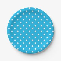 Pool Party Blue Polka Dot Paper Plate | Zazzle