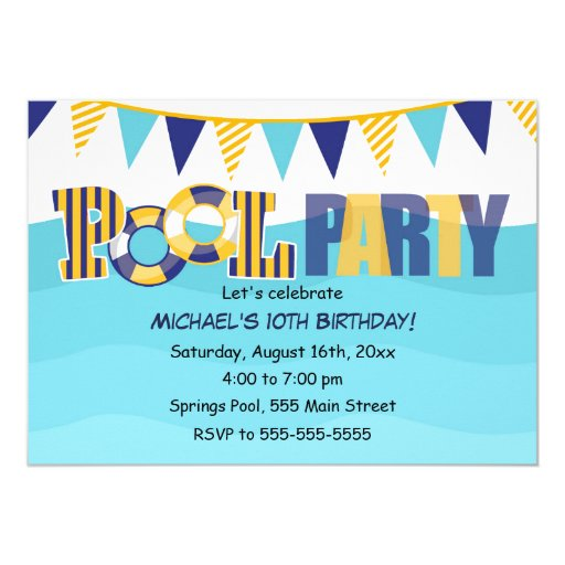 Pool Party Invitation Kids or Adults