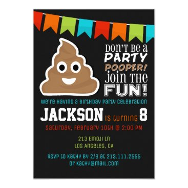 Poop Emoji Funny Boys Birthday Party Invitation