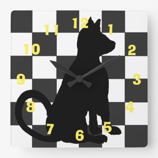 Pop Art Black Cat Retro Checkerboard CricketDiane Square Wall Clock