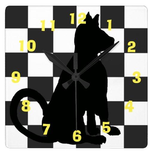 Pop Art Black Cat Retro Checkerboard CricketDiane Square Wall Clock