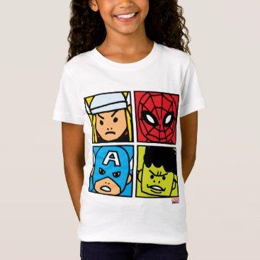 Pop Avengers Character Block Pattern T-Shirt