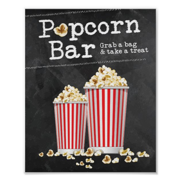 Popcorn Bar Sign Zazzle Com