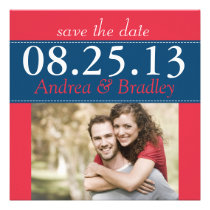 Poppy Red Monaco Blue Photo Save the Date Invitation