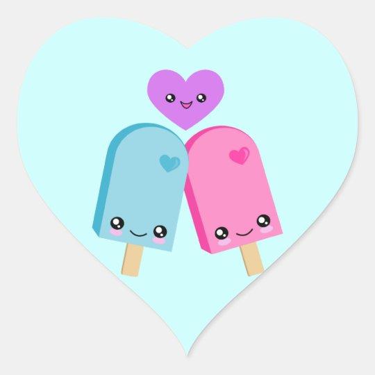 Popsicle Sweet Kawaii Heart Stickers  Zazzlecom