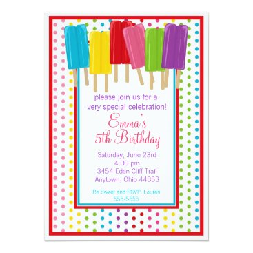 Popsicles and Polka Dots Birthday Invitations