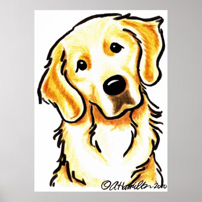 portrait of a golden retriever poster zazzle com