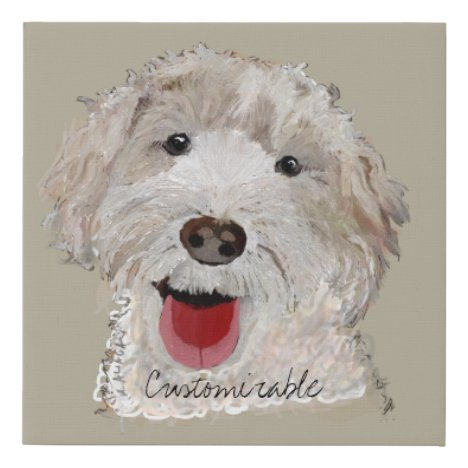 Portrait of a Labradoodle Tan and White Drawing
