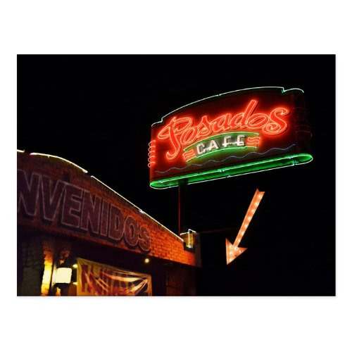 Posados Cafe Neon Sign Postcard