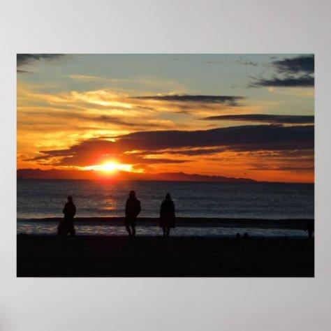Poster: Sunset on Ventura Beach in December Poster