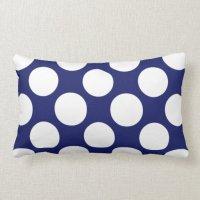 Preppy Navy Blue White Polka Dots Pattern Lumbar Pillow ...