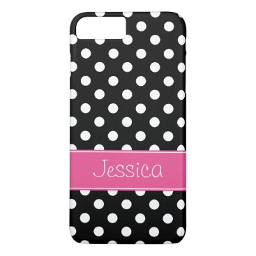 Preppy Pink and Black Polka Dots Personalized iPhone 8 Plus/7 Plus Case