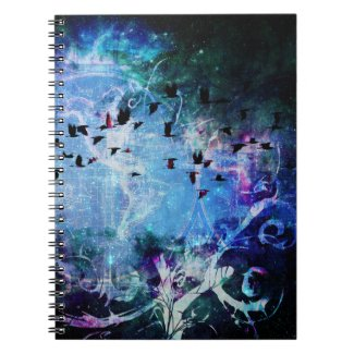 Pretty Abstract Fantasy Raven Magic Flourish Note Books