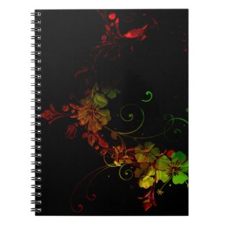 Pretty Black Floral Design Notebook