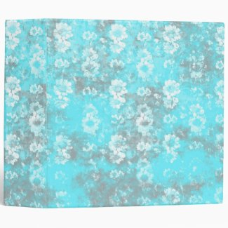 Pretty Blue and White Marbled Flower Wallpaper Binders
