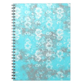 Pretty Blue and White Marbled Flower Wallpaper Notebook