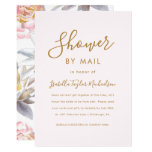 Pretty Blush with Floral Bridal Shower by Mail Invitation