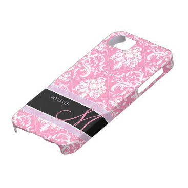 Pretty Bubblegum Pink and white damask w/ monogram iPhone SE/5/5s Case