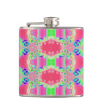 Pretty colorful pink pattern hip flask