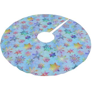 Pretty Colorful Snowflakes Christmas Pattern Tree Skirt