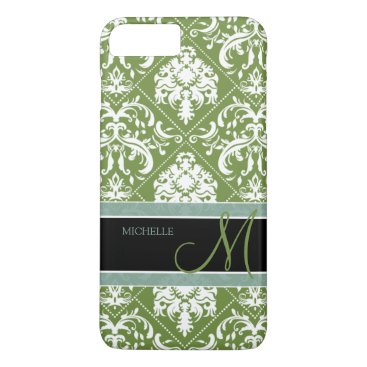 Pretty Dark Olive Green & white damask w/ monogram iPhone 7 Plus Case