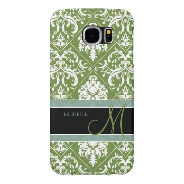 Pretty Dark Olive Green & white damask w/ monogram Samsung Galaxy S6 Case