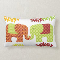 Pretty Elephants in Love Holding Trunks Flowers Lumbar Pillow