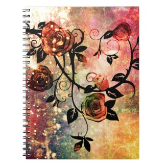 Pretty Fantasy Watercolor Rose Vine Design Note Books