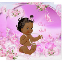 Pretty Girl Baby Shower Pink Butterfly Ethnic Card